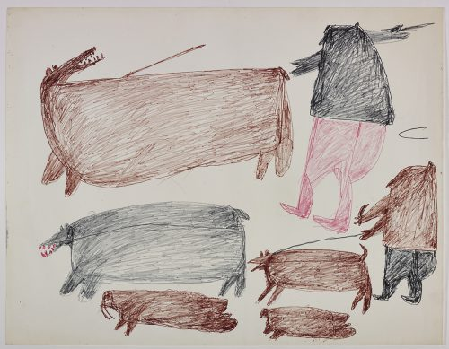 Two polar bears and a walrus on the left side and one seal, two hunters and a a dog on a leash on the right side of the page. They are depicted in a flat, two-dimensional style with minimal detail using brown, black and pink.