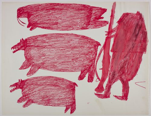 Two polar bears and a walrus on the left side and one hunter on the right side of the page. They are depicted in a flat, two-dimensional style with minimal detail using bright pink.