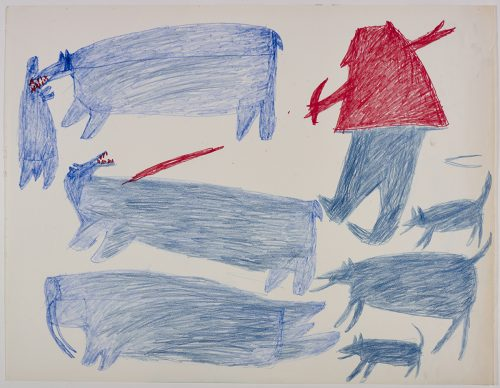 Two polar bears, one walrus, one of the polar bears is biting a seal on the left side and one human, three dogs on the right side of the page. They are depicted in a flat, two-dimensional style with minimal detail using blue and red.