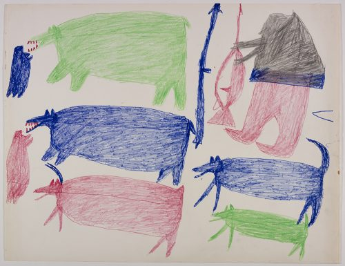 Two polar bears, two seals and a caribou on the left side and one human with weapons and two dogs on the right side of the page. They are depicted in a flat, two-dimensional style with minimal detail using green, blue, pink and grey.