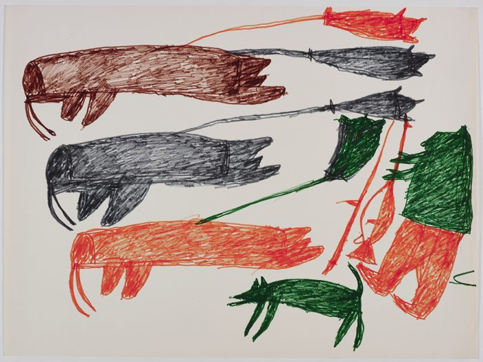 Three walrus with a floats on their backs on the left side and a dog and a hunter with a weapon on the right side of the page. They are depicted in a flat, two-dimensional style with minimal detail using black, brown, orange and green.