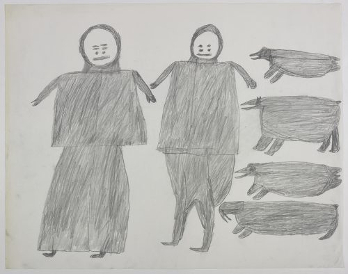 Two people with stylized faces on the left side and two seals, one polar bear and a walrus on the right side of the page. They are depicted in a flat, two-dimensional style with minimal detail using grey.