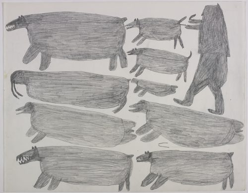 Two polar bears, a walrus and a seal on the left and a hunter, two dogs, two seals and another polar bear on the right side of the page. They are depicted in a flat, two-dimensional style with minimal detail using grey.