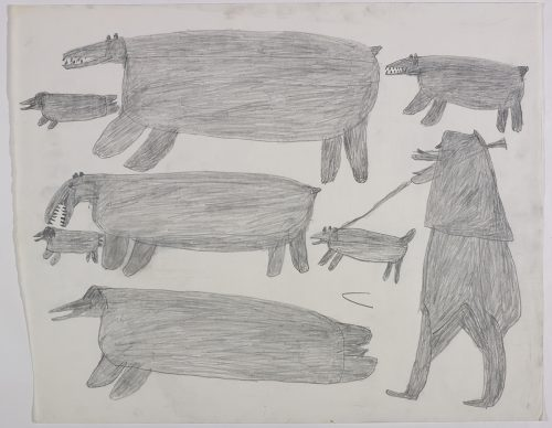 Two polar bears very close to two small seals and another large seal on the left side and a hunter with a dog on a leash below a polar bear cub on the right side of the page. They are depicted in a flat, two-dimensional style with minimal detail using grey.