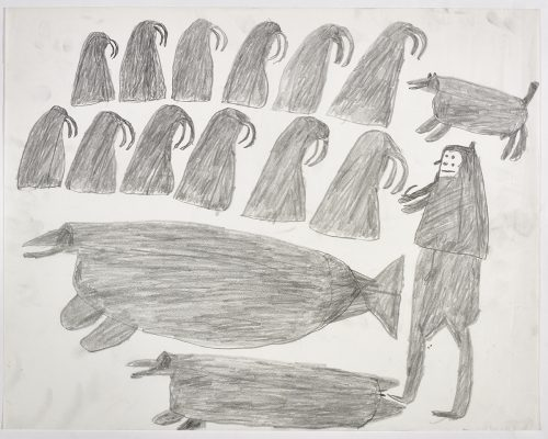 Two rows of six walrus figures and a dog across the top and two sea animals and a hunter on the bottom of the page. They are depicted in a flat, two-dimensional style with minimal detail using grey.