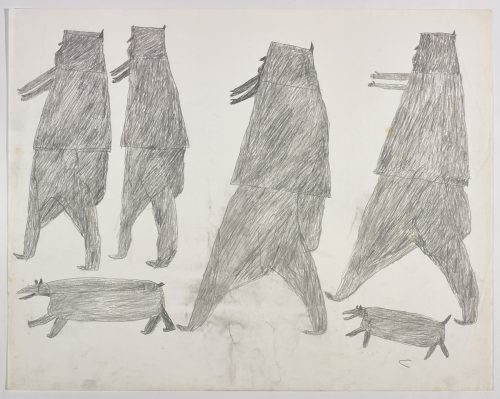 Two people with a dog below them on the left and two other people with a dog on the right side of the page. They are depicted in a flat, two-dimensional style with minimal detail using grey.