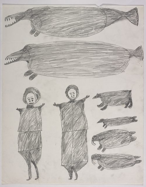 There are two huge whale-like creatures on the top and two women standing next to two walrus, a seal and a polar bear on the bottom of the page. They are depicted in a flat, two-dimensional style with minimal detail using grey.