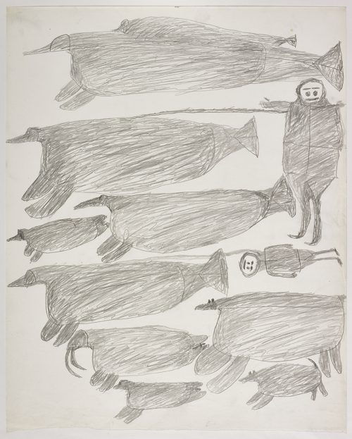A whale-like creature on the top and two walrus on the bottom of the page. They are depicted in a flat, two-dimensional style with minimal detail using grey.