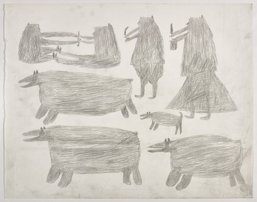 Two people playing stick pull above two polar bears on the left side and two people holding knives, a polar bear and a dog on the right side of the page. They are depicted in a flat, two-dimensional style with minimal detail using grey.