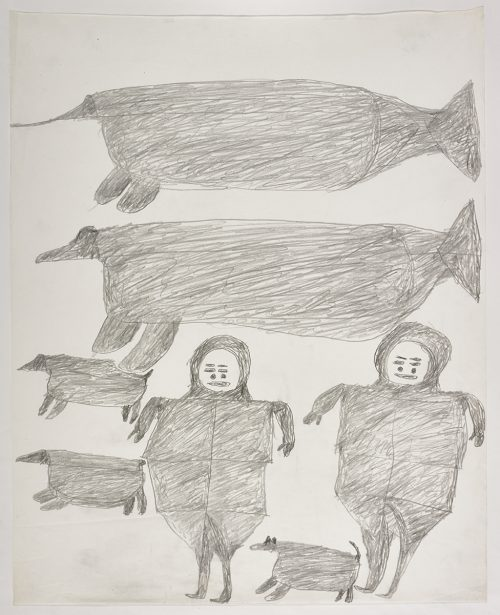 Two large whale-like creatures on the top and two Inuit standing beside three dogs on the bottom of the page. They are depicted in a flat, two-dimensional style with minimal detail using grey.