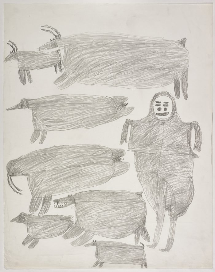 Two caribou, a whale-like creature on the top and a hunter, a seal, two polar bears and a big walrus on the bottom of the page. They are depicted in a flat, two-dimensional style with minimal detail using grey.