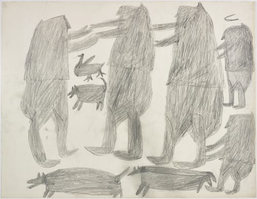 Two people holding hands, one bird, and two dogs on the left side and three more people with a dog on the right side of the page. They are depicted in a flat, two-dimensional style with minimal detail using grey.