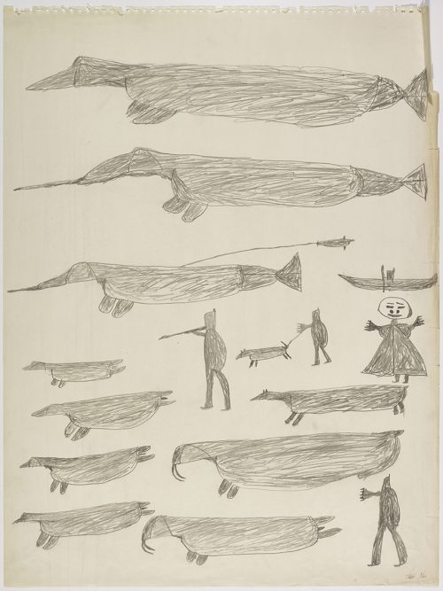 Two narwhal and a whale-like creature near a human figure in a kayak on the top and four humans, two walrus, four seals and a dog on a leash on the bottom of the page. They are depicted in a flat, two-dimensional style with minimal detail using grey.