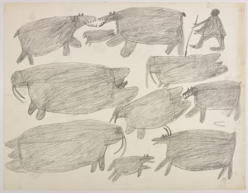 Two polar bears, a seal, a hunter carrying a spear and two walrus on the top and two more walrus, one being chasing by a polar bear, a caribou and a dog on the bottom of the page. They are depicted in a flat, two-dimensional style with minimal detail using grey.