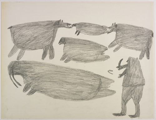 Two polar bears and two seals on the top and a large walrus and a hunter on the bottom of the page. They are depicted in a flat, two-dimensional style with minimal detail using grey.