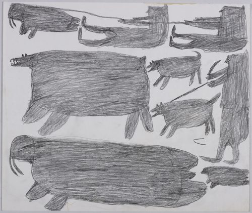 Two people sitting and holding a rope and one walrus on the top and one large polar bear, two dogs, another walrus, a seal and third human figure holding one of the dogs on a leash and a weapon on the bottom of the page. They are depicted in a flat, two-dimensional style with minimal detail using grey.