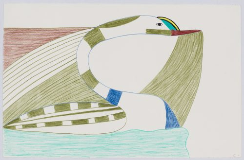 Abstract creature depicting a loon with stripes on the back of its body .Creature presented in a two-dimensional style and using green, aqua, yellow, blue and red.