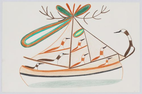 Scene depicting eight stylized loons on an imaginary sailboat with abstract shapes coming from the top of the mast. Presented in a two-dimensional style and using orange, brown, blue and yellow.