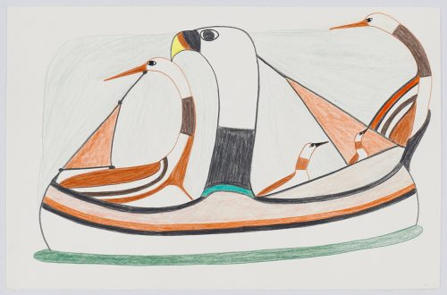 Stylized sailboat with five birds built into various parts of the boat. Scene presented in a two-dimensional style and using black, brown, green and orange.