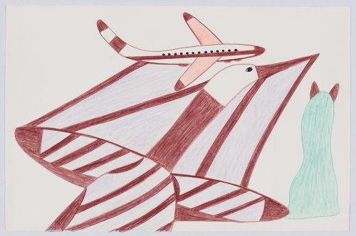 Imaginary scene depicting a large loon with stripes running across its body and extending to an airplane flying just above and on the left. Scene presented in a two-dimensional style using red, pink and aqua.