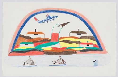Imaginary landscape depicting two sailboats below a large colourful loon surrounded by four houses and an airplane flying above .Landscape presented in a flattened, vertical perspective style and using yellow,aqua,brown,blue and black.