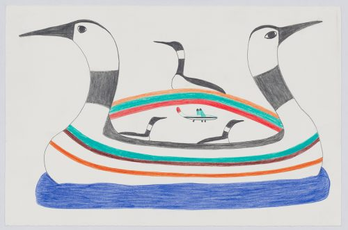 Two large loons form a boat floating on water while two more loons on them and a third loon sits on a rainbow above while an airplane flies underneath. Creatures presented in a two-dimensional style and using grey, green, blue, orange and red.