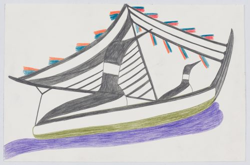 Imaginary scene depicting two loons on a stylized sailboat with many small flag-like objects hanging from rope strung from the clew of the sail to the boat's bow. Design presented in a two-dimensional style and using blue, red, green, purple and black.