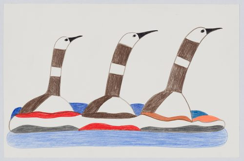 Imaginary design depicting three loons sitting and facing right on a rocky land mass surroundded by water. Figures presented in a two-dimensional style and using blue, brown, black, red and orange.