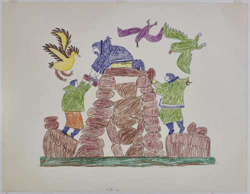 Three humans standing on a rock structure and passing the rocks to each other. Three birds are flying above them. Presented in a two-dimensional style and using blue, purple, green, brown, yellow and orange.