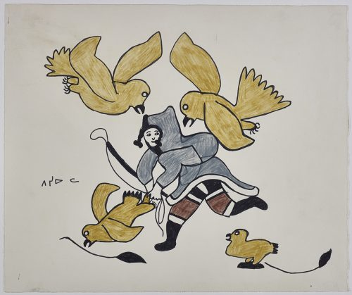 A woman wearing an amautik and holding a long, straigh object. She is surrounded by four birds, two of which are flying toward her from above. Presented in a two-dimensional style and using gold, grey, brown, black and white.