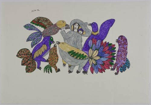 Imaginary design depicting five very large birds with colourful feathers and very large tails surround a woman with a baby on her back. Presented in a flat vertical perspective style using purple, green, yellow, blue, pink and grey.