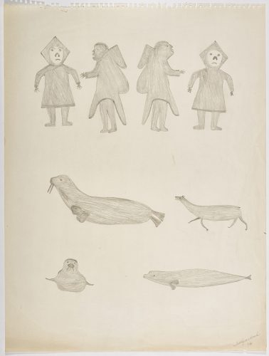 Two men and two women are shown at the the top of the page, a walrus and baby caribou in the middle, and one seal and a beluga are along the bottom. They are depicted in a flat, two dimensional style with minimal detail using grey.