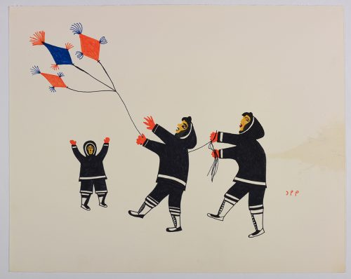 Two people playing with a kite and a third person is below the kite with their arms outstretched. Presented in a two-dimensional style and using black, orange and blue.