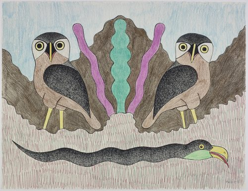 Two owls and a snake-like creature in a stylized, symmetrical landscape. Scene presented in a two-dimensional style and using blue, brown, black and purple.