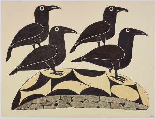 Scene depicting four birds facing the right standing on an abstract patterend ground. Presented in a two-dimensional style and using black and brown.