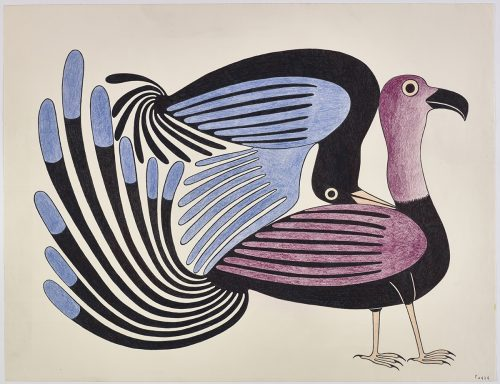 two stylized birds, facing the right. One is standing upright and the other is up-side and with its wing and head resting on the other bird's back. Presented in a two-dimensional style and using fuchsia, blue, black and orange.