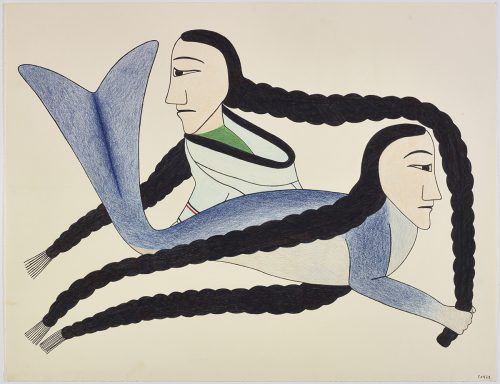 Imaginary scene depicting an Inuit woman with long braids wearing an amautik and a mythical sea creature with long braids as well. Figures presented in a two-dimensional style and using blue, black, red and green.