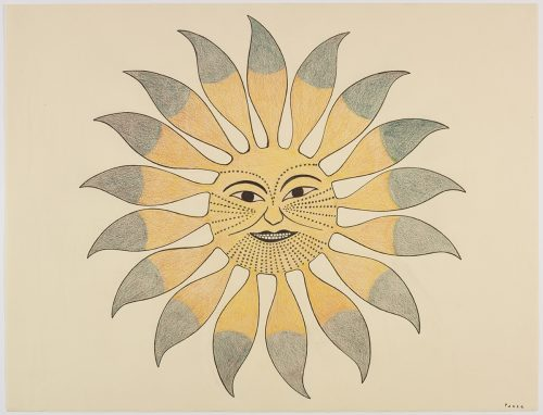 A stylized sun with large feather-like rays and a face with traditional Inuit tattoos. Presented in a two-dimensional style and using yellow and green.