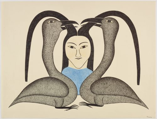 Symmetrical scene depicting two birds with a girl's long hair with their beaks. Presented in a two-dimensional style and using blue, grey and black.