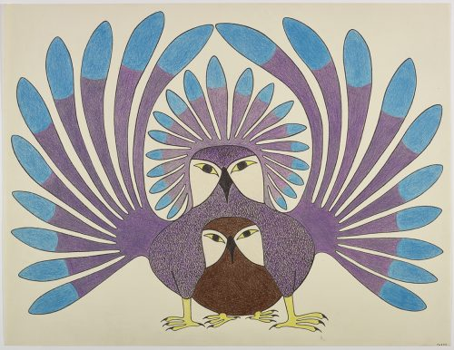 A large owl with large stylized wing and tail feathers stands overtop of a younger owl. Figures presented in a symmetrical, two-dimensional style and using brown, blue and burgundy .