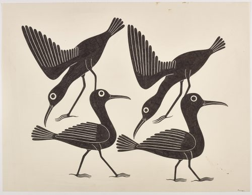 Scene depicting two birds standing facing the right and two other birds with their wings out and their heads facing down pose above them. Scene presented in a two-dimensional style and using black.