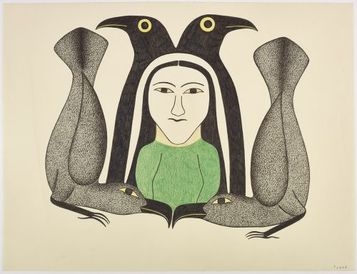 Symmetrical design depicting two birds surrounding a woman in the center with two birds crouching around them with their ftails in the air. Presented in a two-dimensional green, black, grey and yellow.