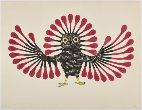 Symmetrical design depicting a stylized owl with a dooted pattern on its boddy and long fancy feathers on its wings and head. Presented in a two-dimensional style and using red, black and yellow.