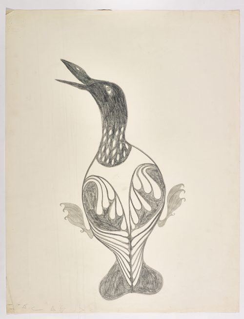 A loon with stylized body and an open beak, facing left. Presented in a two-dimensional style and using grey.