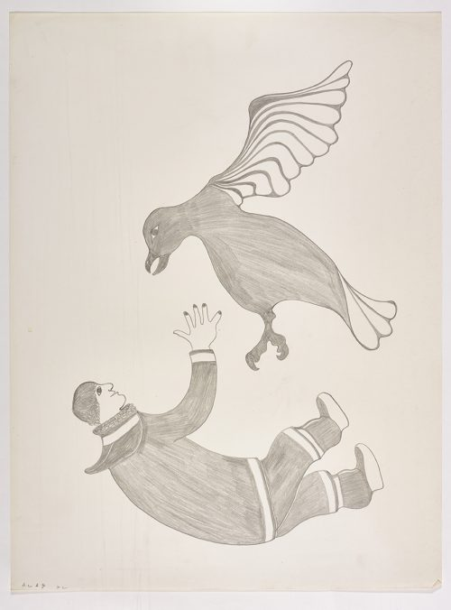 A human on his back at the bottom of the page reaching up toward a bird flying above him. Presented in a two-dimensional style and using grey.