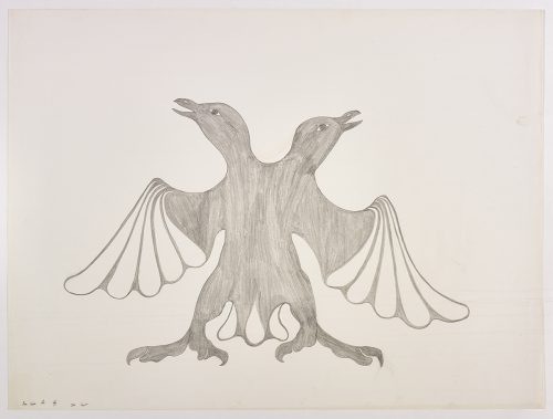 A two-headed bird with outstretched wings and sharp claws. Presented in a two-dimensional style and using grey.