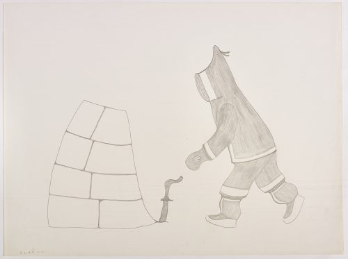 A human wearing traditional Inuit clothing walking toward an the wall of an igloo. Presented in a two-dimensional style and using grey.