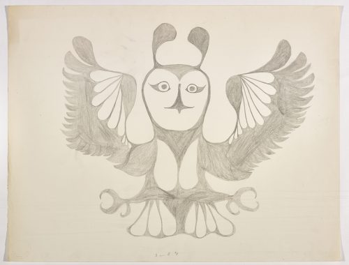 An owl with horns on its head and outstretched wings and feet. Presented in a two-dimensional style and using grey.