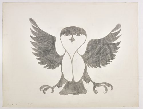 An owl with outstretched wings and feet. Presented in a two-dimensional style and using grey.