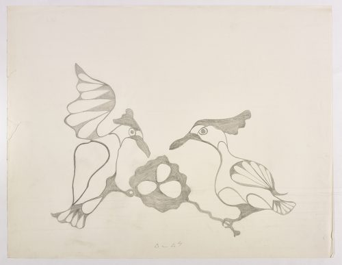 Two woodpecker-like birds with a nest with three eggs in the middle. Presented in a two-dimensional style and using grey.